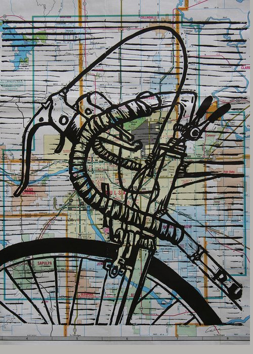 Print Greeting Card featuring the drawing Bike 2 On Map by William Cauthern