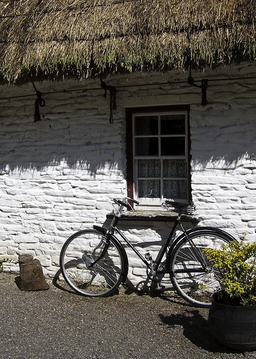 Irish Greeting Card featuring the photograph Bike At The Window County Clare Ireland by Teresa Mucha