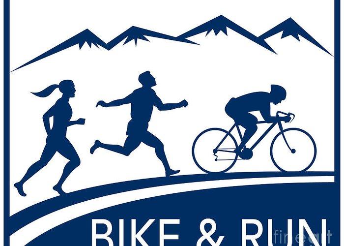 Marathon Greeting Card featuring the digital art Bike Cycle Run Race by Aloysius Patrimonio
