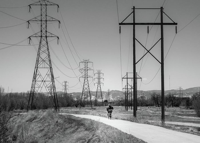 2016 Greeting Card featuring the photograph Bike Power On Platte Trail by Cary Leppert