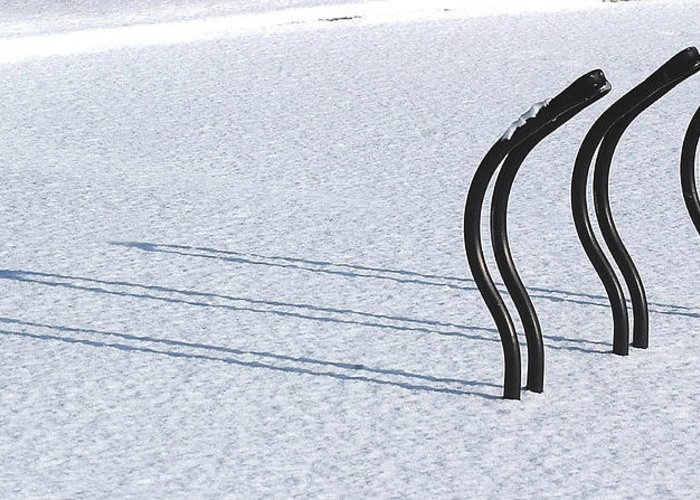 Bicycle Rack Greeting Card featuring the photograph Bike Racks In Snow by Steve Somerville