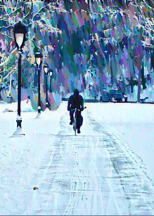 Bike Riding In The Snow Greeting Card featuring the photograph Bike Riding In The Snow by Bill Cannon