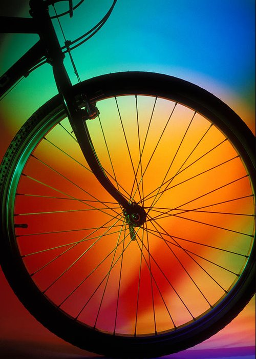 Bike Silhouette Greeting Card featuring the photograph Bike Silhouette by Garry Gay