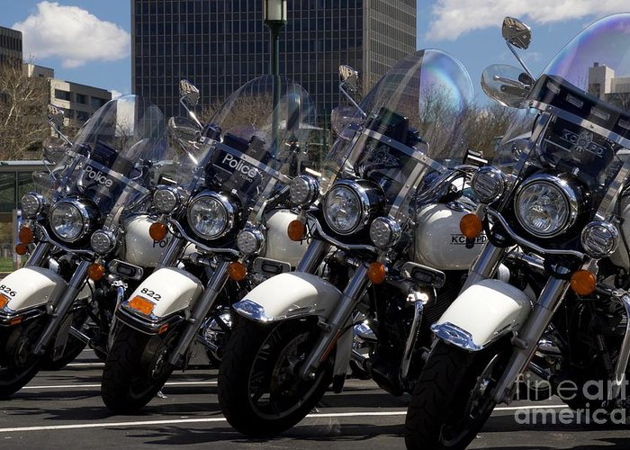Police Greeting Card featuring the photograph Bikes In Blue by John Franke