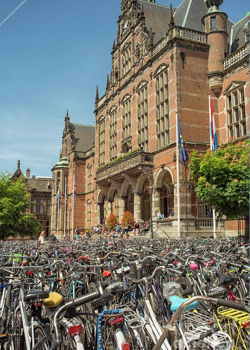 Academic Greeting Card featuring the photograph Bikes In Front Of Dutch University by Patricia Hofmeester