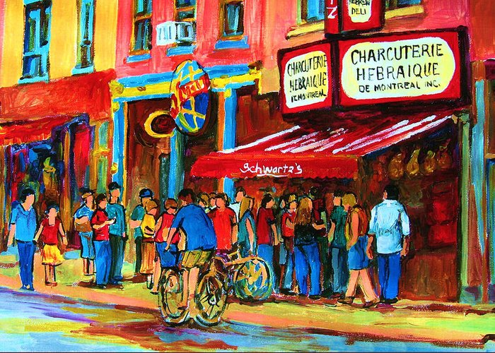 Schwartzs Smoked Meat Deli Greeting Card featuring the painting Biking Past The Deli by Carole Spandau