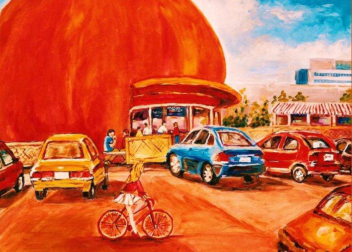 Cityscenes Greeting Card featuring the painting Biking Past The Orange Julep by Carole Spandau