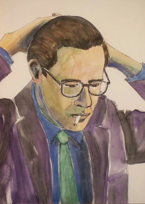 Bill Evans Greeting Card featuring the mixed media Bill Evans by Anita Burgermeister