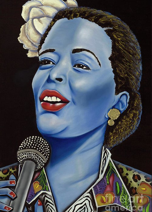 Portrait. Metallic Accessories Greeting Card featuring the painting Billie by Nannette Harris