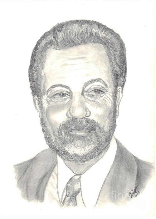 Famous People Drawings Greeting Card featuring the drawing Billy Joel Portrait by Carol Wisniewski