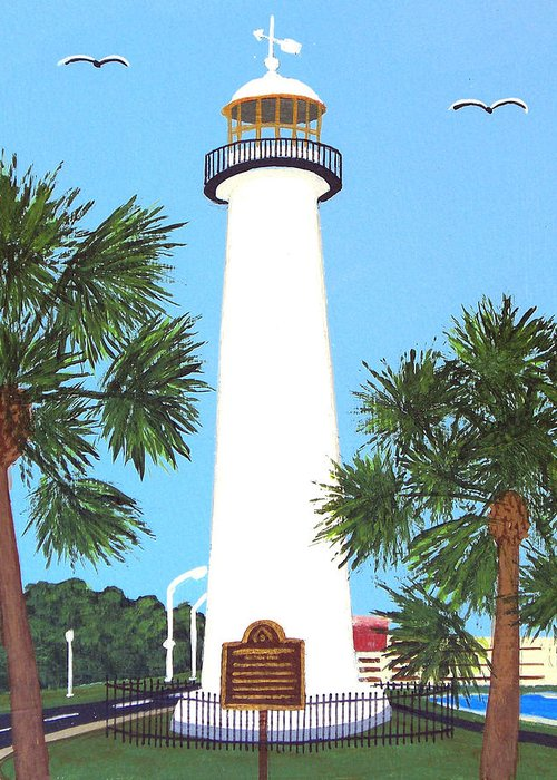Lighthouse Paintings Greeting Card featuring the painting Biloxi Lighthouse by Frederic Kohli