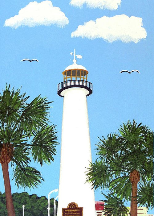 Lighthouse Greeting Card featuring the painting Biloxi Lighthouse Painting by Frederic Kohli