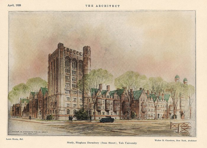 Dormitory Greeting Card featuring the painting Bingham Dormitory. Yale University. New Haven Connecticut 1926 by Walter Chambers