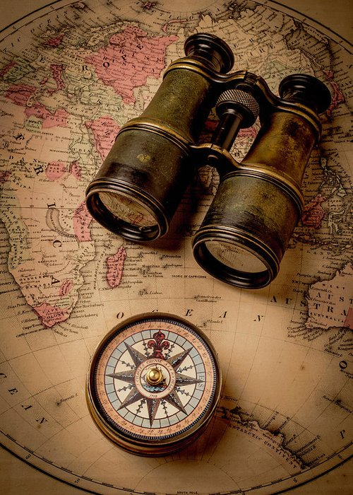 Old Greeting Card featuring the photograph Binoculars And Compass On Map by Garry Gay