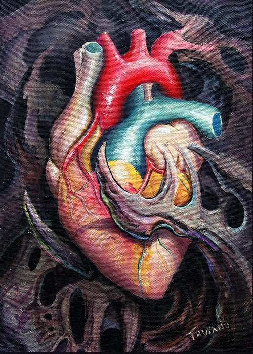 Anatomical Greeting Card featuring the painting Bio Heart by Matt Truiano