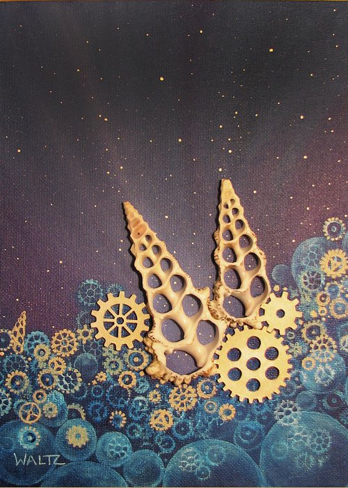 Gears Shells Steampunk Stars Space Bubbles Greeting Card featuring the painting Biological Restraints by Beth Waltz