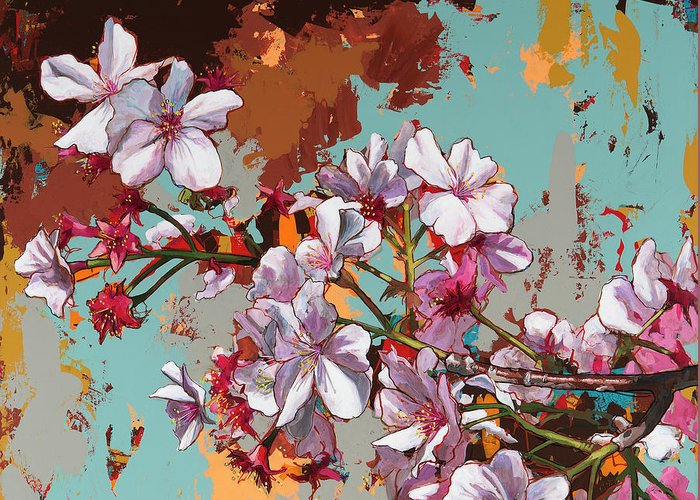 Cherry Blossoms Greeting Card featuring the painting Biosphere #11 by David Palmer