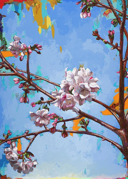 Cherry Blossoms Greeting Card featuring the painting Biosphere #6 by David Palmer