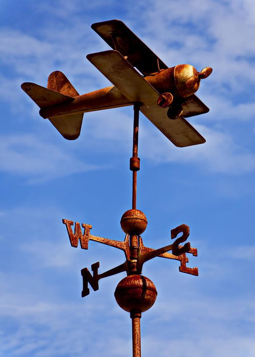 Biplane Weather Vane Greeting Card featuring the photograph Biplane Weather Vane by Garry Gay