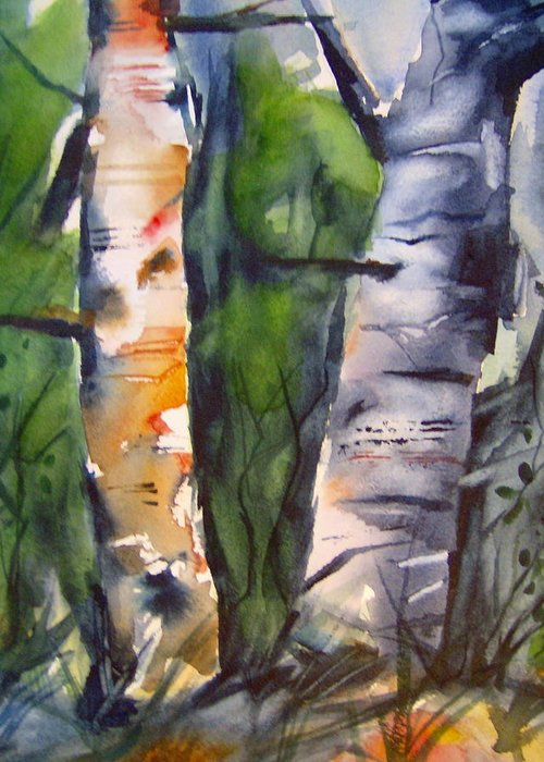 Tree Greeting Card featuring the painting Birch Brothers by Brian Degnon