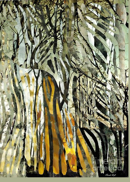 Birch Trees Greeting Card featuring the mixed media Birch Forest by Sarah Loft