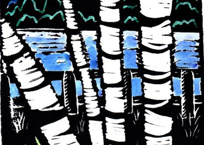 Birch Tree Greeting Card featuring the painting Birch Lake by Jane Croteau