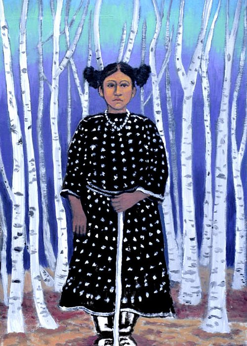 Native American Greeting Card featuring the painting Birch Tree Forest by Susan Stewart