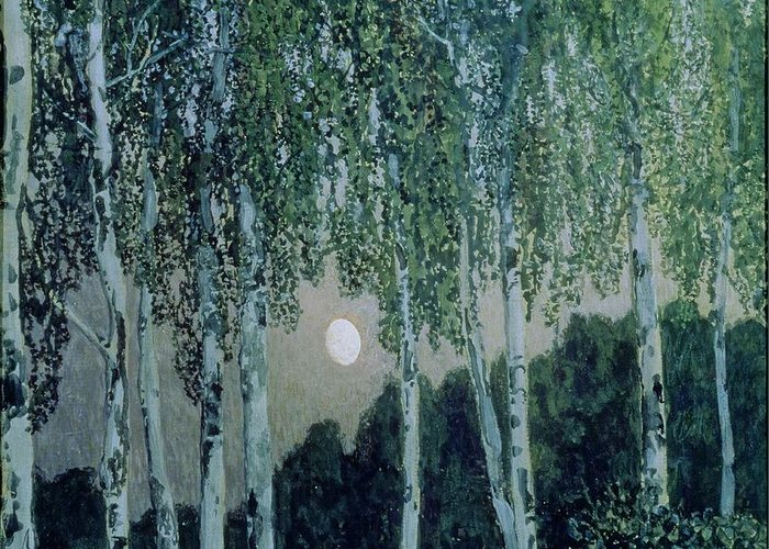 Birch Trees (oil On Canvas) By Aleksandr Jakovlevic Golovin (1863-1930) Greeting Card featuring the painting Birch Trees by Aleksandr Jakovlevic Golovin