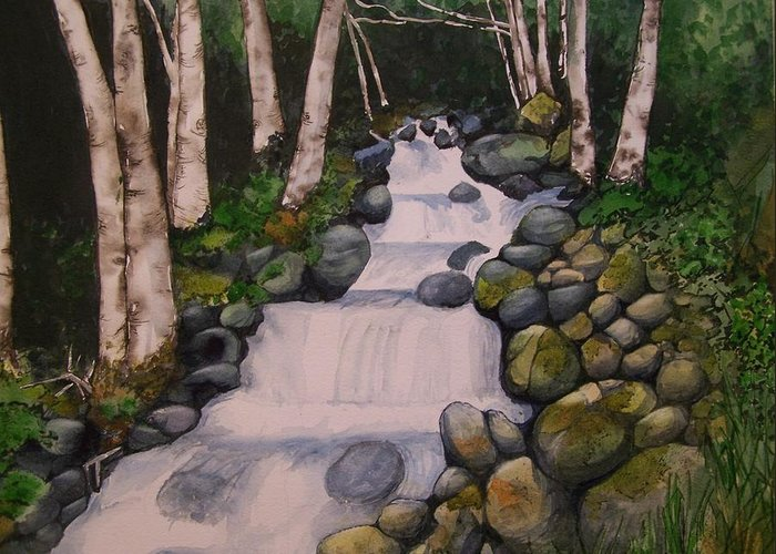 Landscape Greeting Card featuring the painting Birch Trees By The Brook by Lynn Babineau