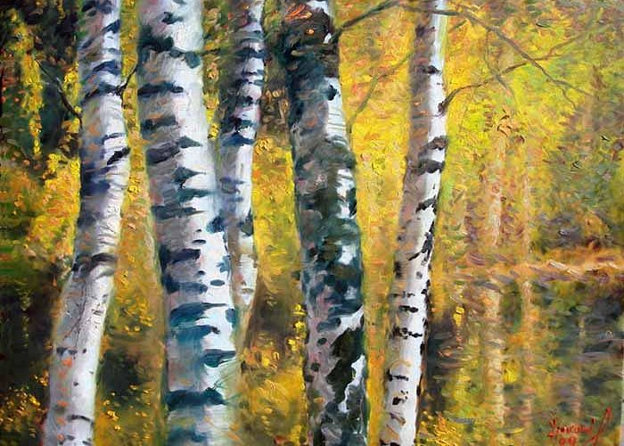 Landscape Greeting Card featuring the painting Birch Trees In Golden Fall by Ylli Haruni