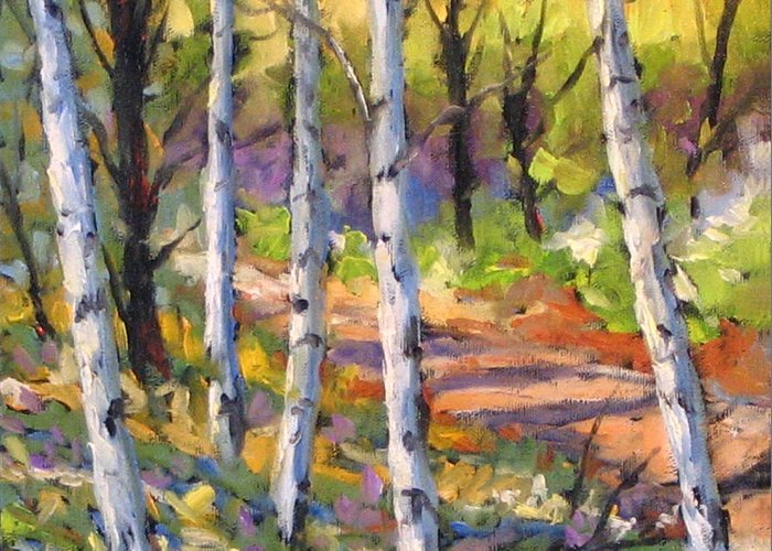Art Greeting Card featuring the painting Birches 02 by Richard T Pranke