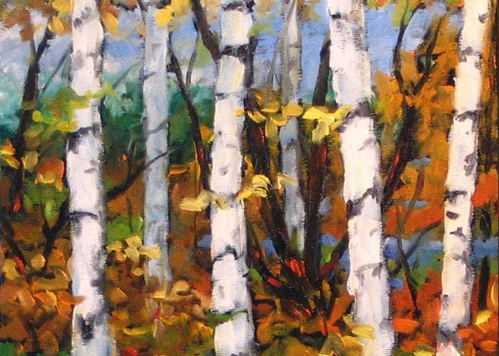 Art Greeting Card featuring the painting Birches 03 by Richard T Pranke