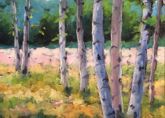 Art Greeting Card featuring the painting Birches 04 by Richard T Pranke