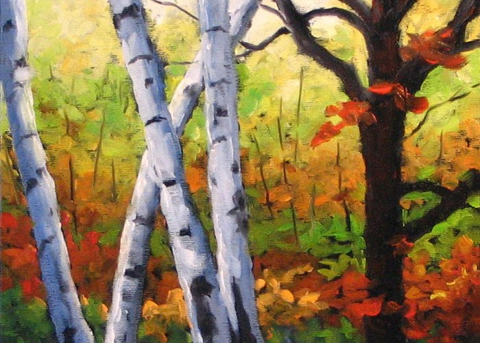 Art Greeting Card featuring the painting Birches 05 by Richard T Pranke