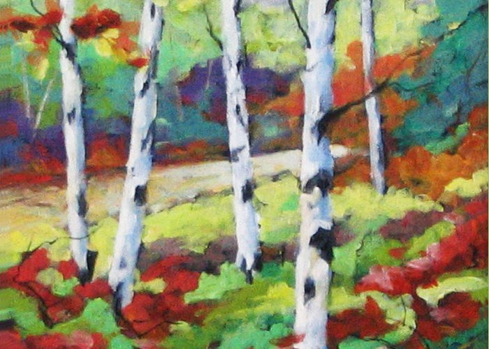 Art Greeting Card featuring the painting Birches 07 by Richard T Pranke