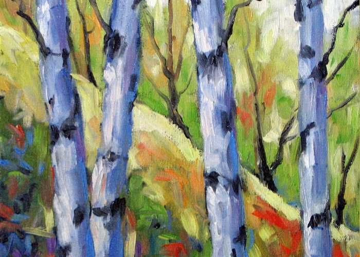Art Greeting Card featuring the painting Birches 09 by Richard T Pranke