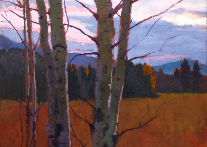 Tree Greeting Card featuring the painting Birches At Twilight by Robert Bissett