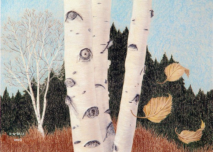 Birch Greeting Card featuring the painting Birches by Betsy Gray Bell