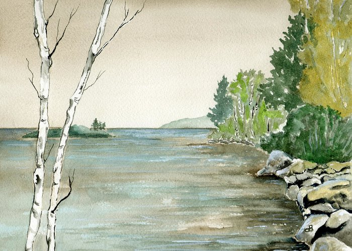 Landscape Watercolor Birches Trees Lake Pond Water Sky Rocks Greeting Card featuring the painting Birches By The Lake by Brenda Owen