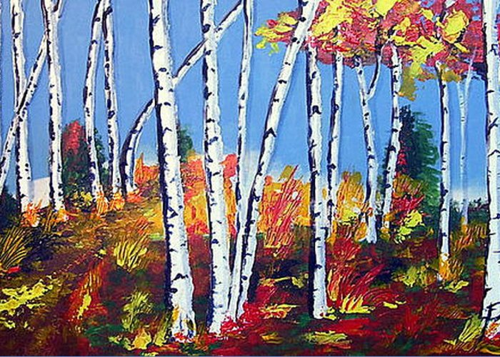 Birches Greeting Card featuring the painting Birches by Paul Sandilands