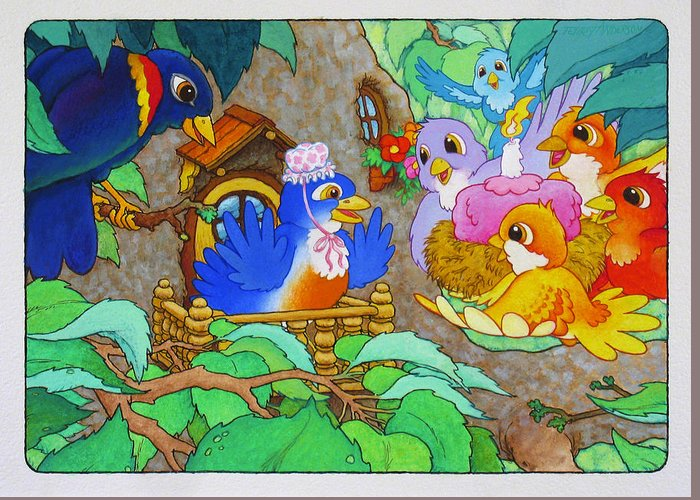 Birds; Bright-colored Birds; Birth Day Card; Cartoon Birds; Bluebird; Birds In Tree Greeting Card featuring the painting Bird-day by Terry Anderson