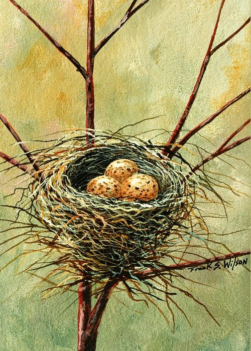 Still Life Greeting Card featuring the painting Bird Nest by Frank Wilson