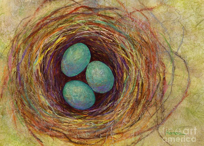 Eggs Greeting Card featuring the painting Bird Nest by Hailey E Herrera