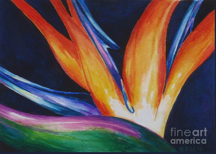 Floral Greeting Card featuring the painting Bird Of Paradise 1 by Edoen Kang