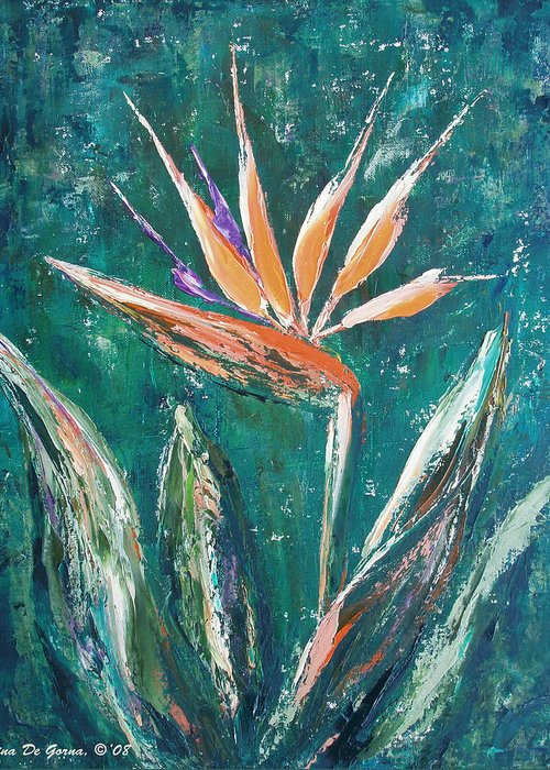 Bird Of Paradise Greeting Card featuring the painting Bird Of Paradise by Gina De Gorna