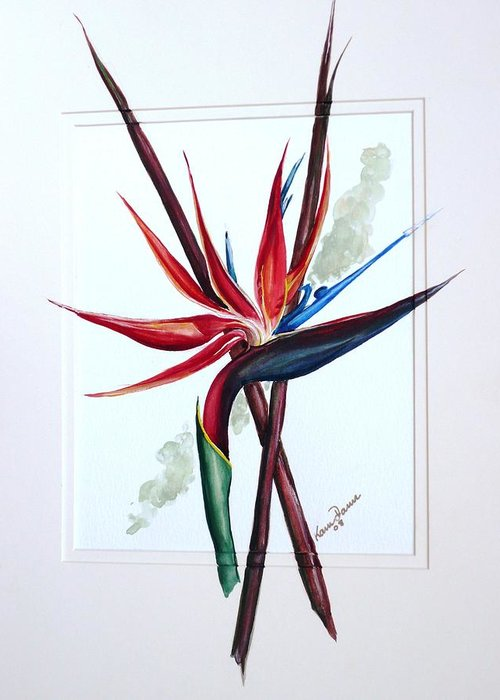 Floral Tropical Caribbean Flower Greeting Card featuring the painting Bird Of Paradise Lily by Karin Dawn Kelshall- Best