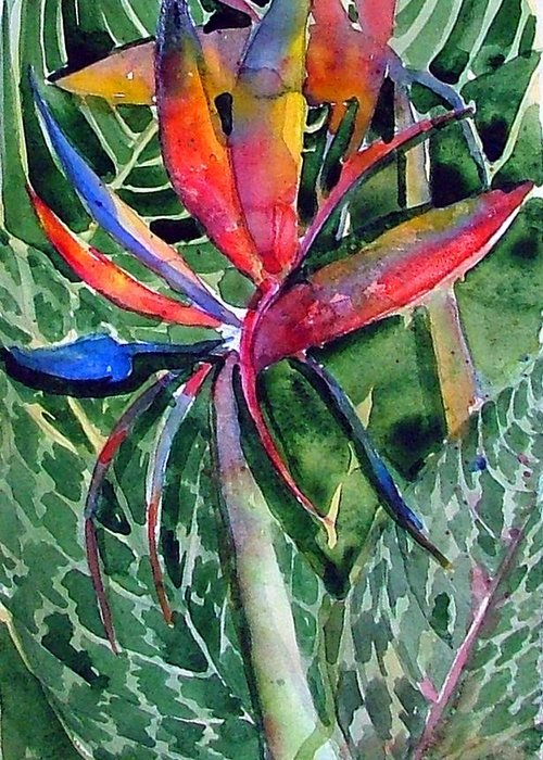 Floral Greeting Card featuring the painting Bird Of Paradise by Mindy Newman