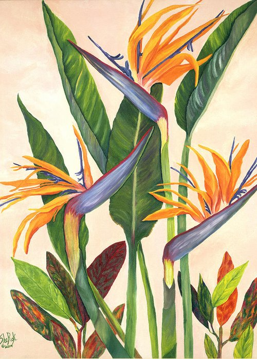 Floral Greeting Card featuring the painting Bird Of Paradise by SheRok Williams