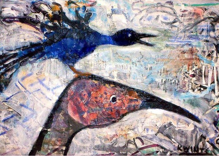 Birds Greeting Card featuring the mixed media Bird On Bird by Dave Kwinter