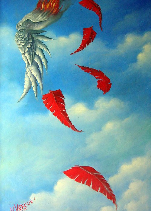 Surreal Greeting Card featuring the painting Bird on Fire by Valerie Vescovi